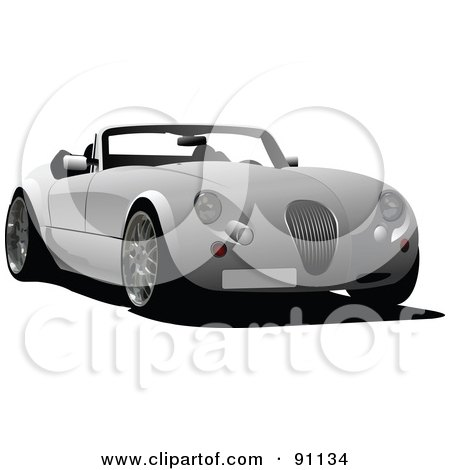 Royalty-Free (RF) Clipart Illustration of a Classy Gray Convertible Car by leonid