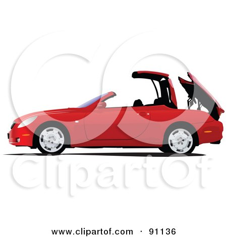 Royalty-Free (RF) Clipart Illustration of a Red Convertible Car Lowering Its Top by leonid