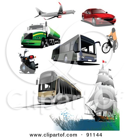 Royalty-Free (RF) Clipart Illustration of a Digital Collage Of A Plane, Big Rig, Motorcycle, Bus, Tram, Boat, Bicyclist And Car by leonid