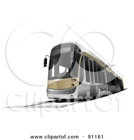 Royalty-Free (RF) Clipart Illustration of a Gold And Silver City Tram by leonid