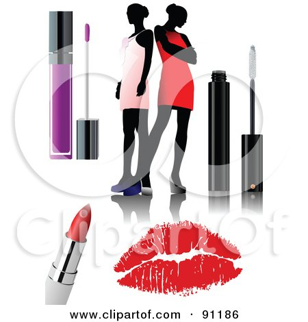 Royalty-Free (RF) Clipart Illustration of a Digital Collage Of Faceless Women With Lip Gloss, Lipstick, Mascara And A Lipstick Kiss by leonid