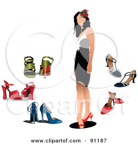Royalty-Free (RF) Clipart Illustration of a Faceless Woman In A Dress And Heels, Surrounded By Other Shoes by leonid