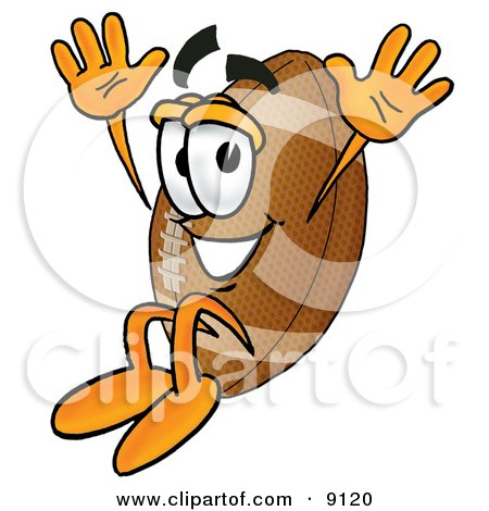 Clipart Picture Of A Football Mascot Cartoon Character Jumping