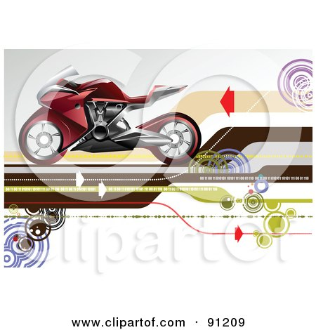 Royalty-Free (RF) Clipart Illustration of a Red Motorcycle Over An Arrow Background by leonid