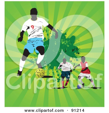 Royalty-Free (RF) Clipart Illustration of a Green Bursting Background With Three Soccer Players by leonid