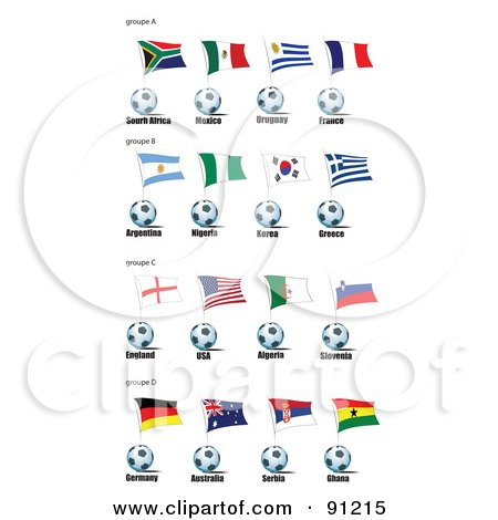 Royalty-Free (RF) Clipart Illustration of a Digital Collage Of South Africa, Mexico, Uruguay, France, Argentina, Nigera, Korea, Greece, England, Usa, Algeria, Slovenia, Germany, Australia, Serbia And Ghana Soccer Balls And Flags by leonid