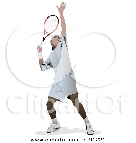 Royalty-Free (RF) Clipart Illustration of a Male Tennis Player by leonid