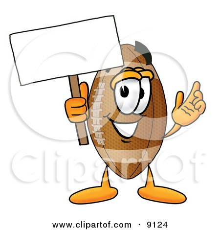 Clipart Picture Of A Football Mascot Cartoon Character Holding A Blank Sign