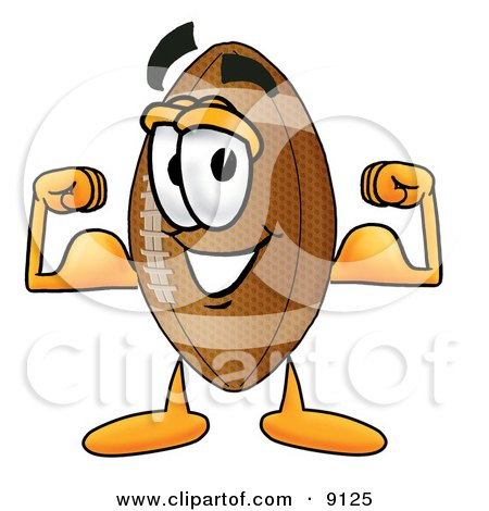 Football Mascot Cartoon Character Flexing His Arm Muscles Posters, Art Prints