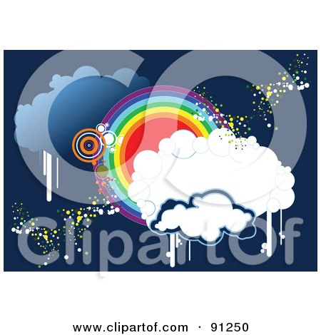 Royalty-Free (RF) Clipart Illustration of a Funky Blue Cloud And Rainbow Circle Background by leonid