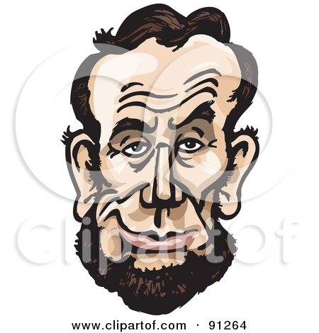 Royalty-Free (RF) Clipart Illustration of a Caricature Face Of A Man, President Abraham Lincoln by Dennis Holmes Designs