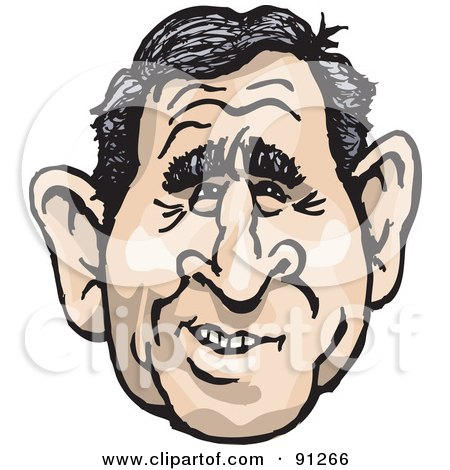 Royalty-Free (RF) Clipart Illustration of a Caricature Face Of A Man, President George W Bush by Dennis Holmes Designs