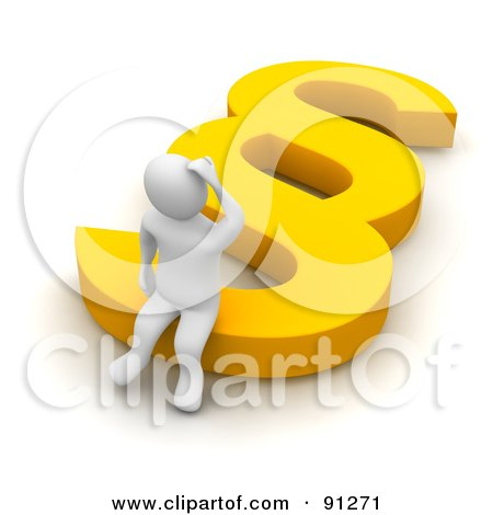 Royalty-Free (RF) Clipart Illustration of a 3d Confused Blanco Man Sitting On A Yellow Paragraph Symbol by Jiri Moucka