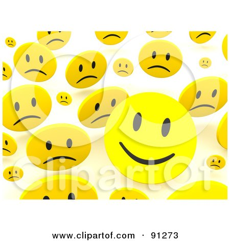 Royalty-Free (RF) Clipart Illustration of a Background Of 3d Happy And Sad Smiley Faces Over White by Jiri Moucka