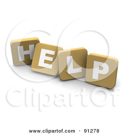 Royalty-Free (RF) Clipart Illustration of 3d Tan Blocks Spelling Help by Jiri Moucka