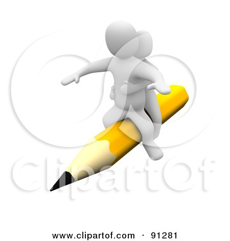 Royalty-Free (RF) Clipart Illustration of a 3d Blanco Couple Riding A Yellow Pencil by Jiri Moucka