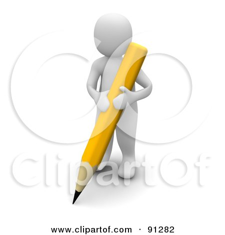 Royalty-Free (RF) Clipart Illustration of a 3d Blanco Man Writing With A Yellow Pencil by Jiri Moucka