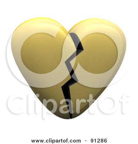Royalty-Free (RF) Clipart Illustration of a 3d Shiny Gold Or Beige Heart With A Crack Down The Center by Jiri Moucka