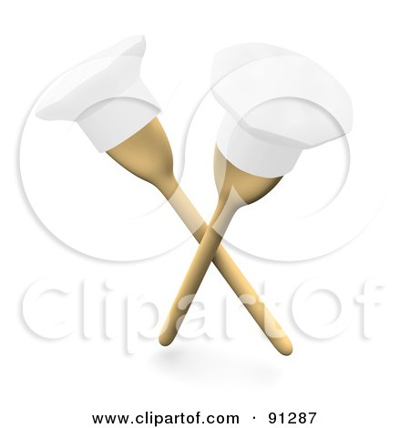 Royalty-Free (RF) Clipart Illustration of Two 3d Wooden Spoons With Chef Hats On The Tips by Jiri Moucka