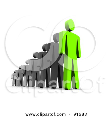 Royalty-Free (RF) Clipart Illustration of a 3d Green Guy Leading Black Men by Jiri Moucka