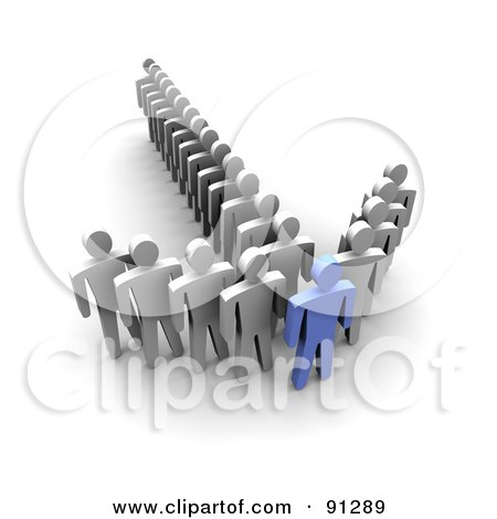 Royalty-Free (RF) Clipart Illustration of a 3d Blue Man At The Tip Of An Arrow Of White Followers by Jiri Moucka