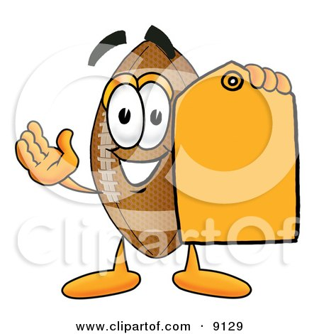 Football Mascot Cartoon Character Holding a Yellow Sales Price Tag Posters, Art Prints