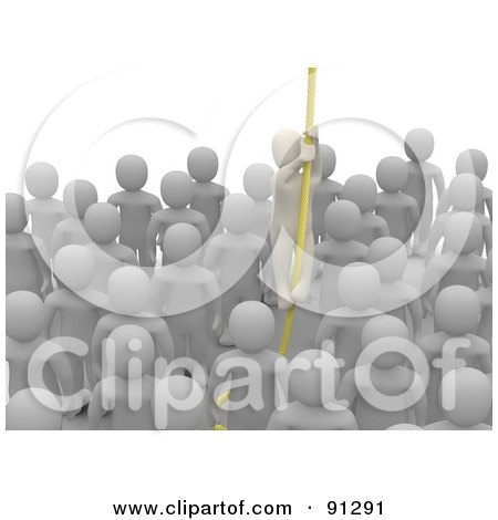 Royalty-Free (RF) Clipart Illustration of a 3d Blanco Man Climbing Up A Rope To Escape From A Crowd by Jiri Moucka