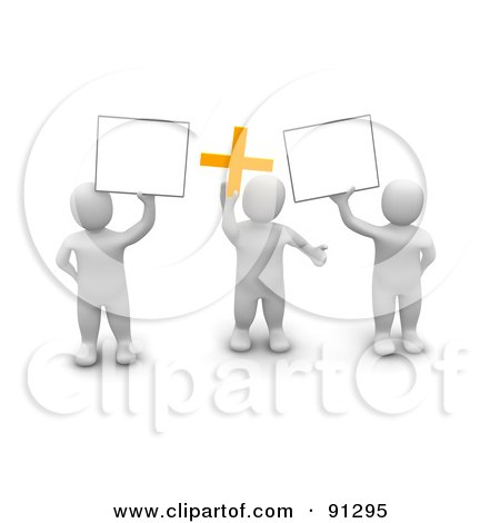 Royalty-Free (RF) Clipart Illustration of 3d Blanco Men Holding Blank Signs And A Plus Symbol by Jiri Moucka
