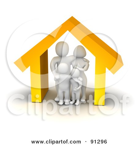 Royalty-Free (RF) Clipart Illustration of a 3d Blanco Family Standing Under An Orange House by Jiri Moucka
