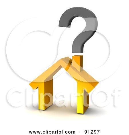 Royalty-Free (RF) Clipart Illustration of a 3d Orange Home With A Question Mark Over The Chimney by Jiri Moucka