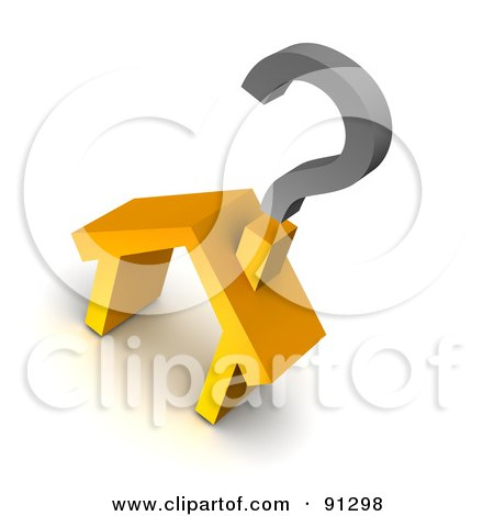 Royalty-Free (RF) Clipart Illustration of a 3d Orange House With A Question Mark Over The Chimney by Jiri Moucka