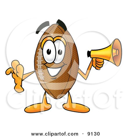 Clipart Picture of a Football Mascot Cartoon Character Screaming Into a Megaphone by Toons4Biz