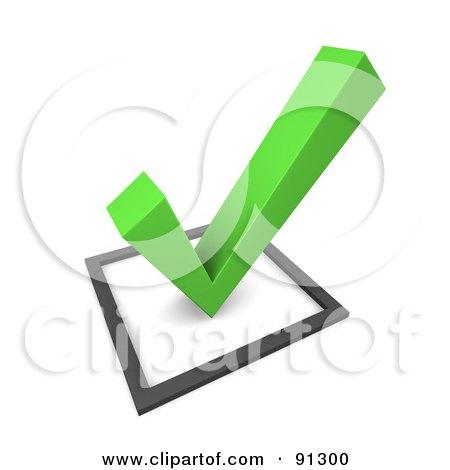 Royalty-Free (RF) Clipart Illustration of a 3d Green Check Mark Over A Box by Jiri Moucka