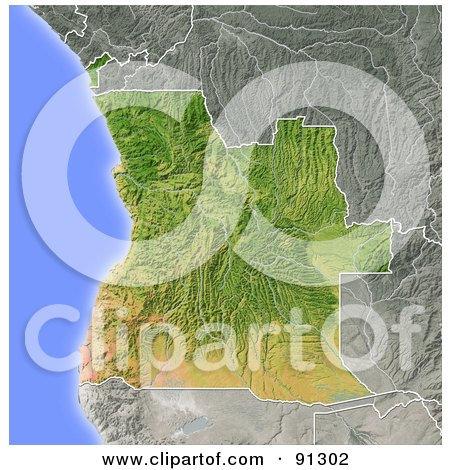 Royalty-Free (RF) Clipart Illustration of a Shaded Relief Map Of Angola by Michael Schmeling