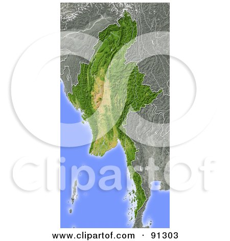 Royalty-Free (RF) Clipart Illustration of a Shaded Relief Map Of Burma (Myanmar) by Michael Schmeling