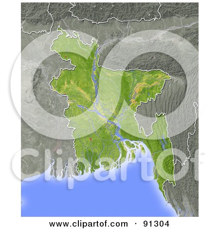 Royalty-Free (RF) Clipart Illustration of a Shaded Relief Map Of Bangladesh by Michael Schmeling