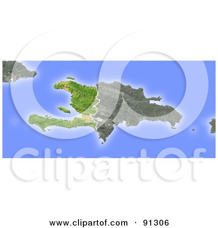 Royalty-Free (RF) Clipart Illustration of a Shaded Relief Map Of Haiti by Michael Schmeling