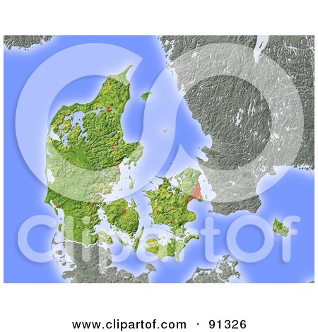 Royalty-Free (RF) Clipart Illustration of a Shaded Relief Map Of Denmark by Michael Schmeling