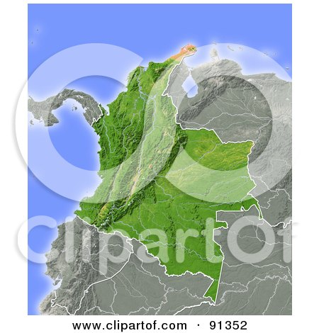 map of colombia. Relief Map Of Colombia