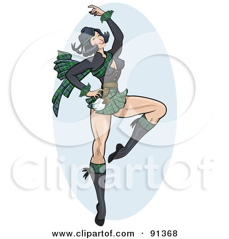 Royalty-Free (RF) Clipart Illustration of a Sexy Pinup Scottish Woman Dancing by r formidable