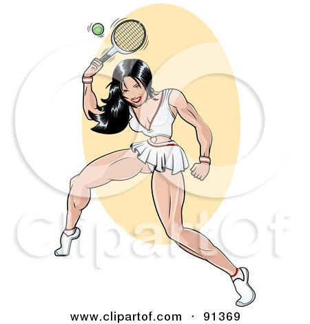 Royalty-Free (RF) Clipart Illustration of a Sexy Pinup Tennis Player Woman by r formidable