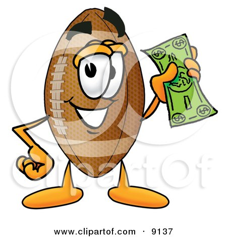 Clipart Picture of a Football Mascot Cartoon Character Holding a Dollar Bill by Toons4Biz