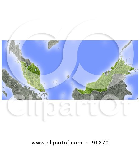 Royalty-Free (RF) Clipart Illustration of a Shaded Relief Map Of Malaysia by Michael Schmeling