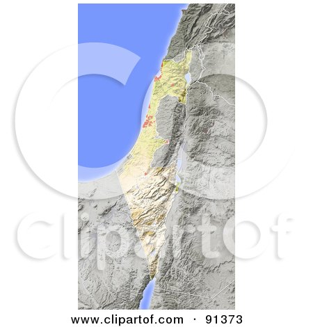 Royalty-Free (RF) Clipart Illustration of a Shaded Relief Map Of Israel by Michael Schmeling
