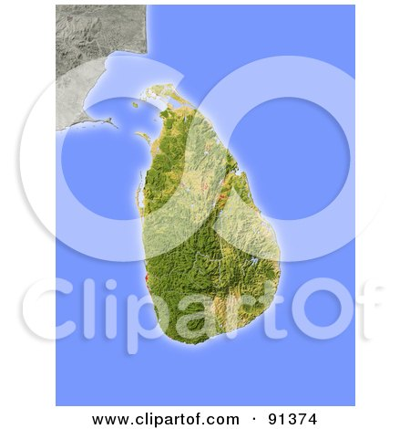 Royalty-Free (RF) Clipart Illustration of a Shaded Relief Map Of Sri Lanka by Michael Schmeling
