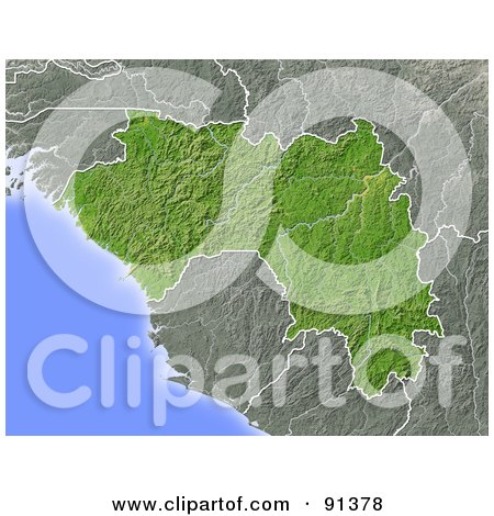 Royalty-Free (RF) Clipart Illustration of a Shaded Relief Map Of Guinea by Michael Schmeling