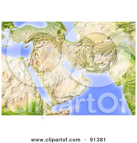 Royalty-Free (RF) Clipart Illustration of a Shaded Relief Map Of The Near East, Without Borders by Michael Schmeling