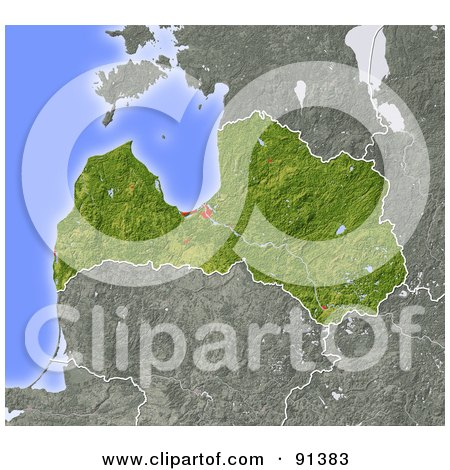 Royalty-Free (RF) Clipart Illustration of a Shaded Relief Map Of Latvia by Michael Schmeling