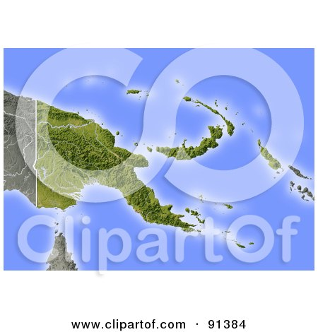 Royalty-Free (RF) Clipart Illustration of a Shaded Relief Map Of Papua New Guinea by Michael Schmeling