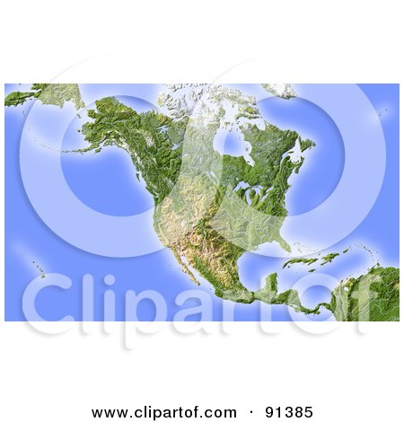 Royalty-Free (RF) Clipart Illustration of a Shaded Relief Map Of North America by Michael Schmeling